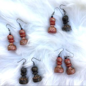 Chess piece earrings, vintage handmade from India.
